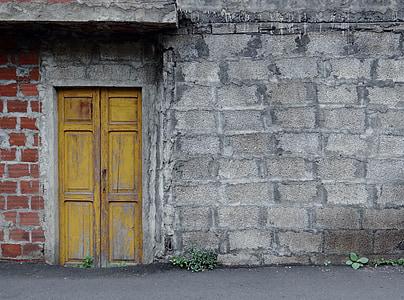 brown door on gray solid wall