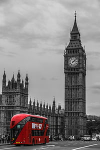 selective color photo of red bus