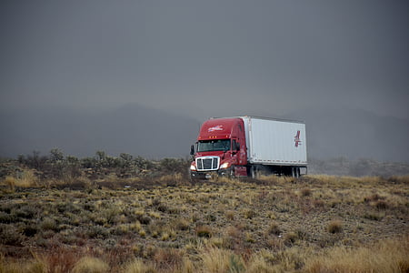 red and white trailer truck running on road during daytime