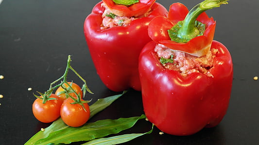 two bell peppers and tomatoes