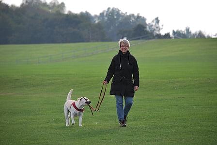 woman in black hooded jacket beside white dog walking in lawn field