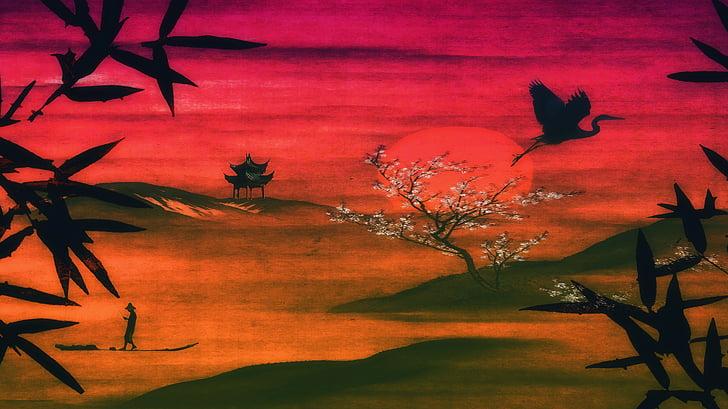 painting of bird flying