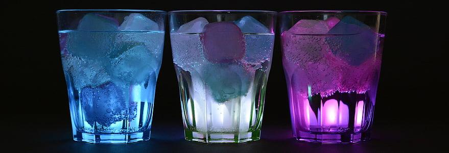 three blue, white, and purple rock glasses