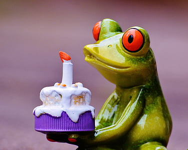macro shot photography of green ceramic frog figurine holding cake
