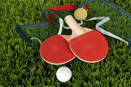 two red-and-brown ping pong rackets
