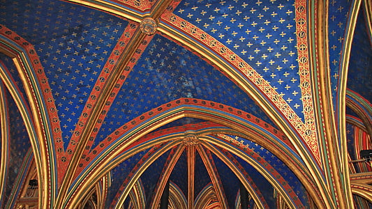 blue and red ceiling decor