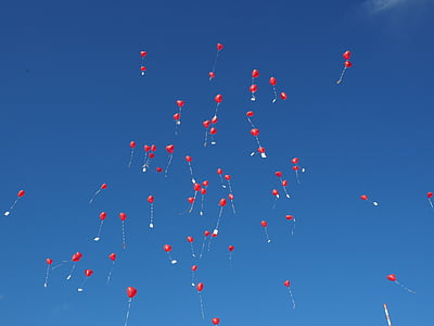 red balloons flying under clear blue sky during daytime