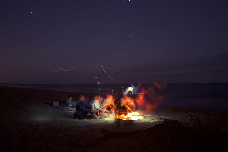 camp fire during night time