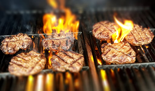 seven grilled meats on black grill