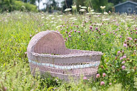 baby's brown wicker bassinet