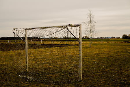 white metal-framed soccer net