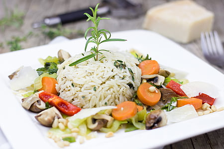 boiled rice on white ceramic plate