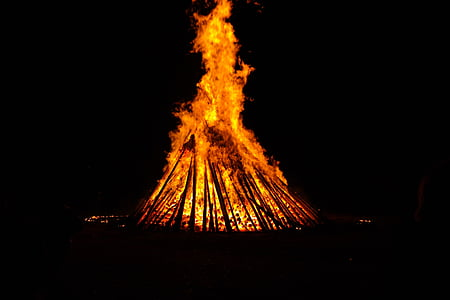 blazing bonfire