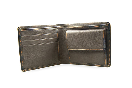 gray leather bifold wallet