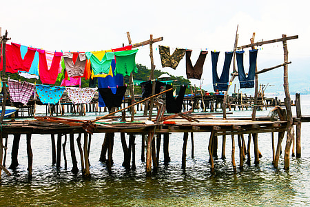 assorted-color clothes hanging above dock