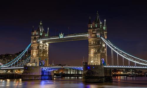 bridge, night, city, london, river, thames