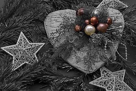 selective color photo of baubles