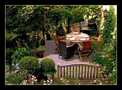 patio table framed photo