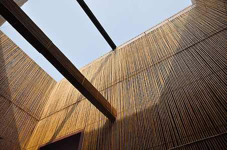 photo of brown bamboo wall