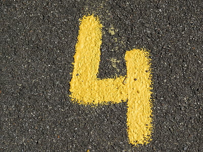 number, ad, yellow, color, asphalt, road