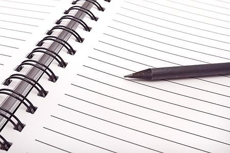 black pen on black lined notebook