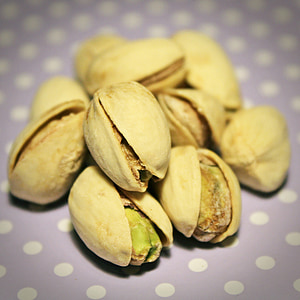 shallow focus of pistachio nuts