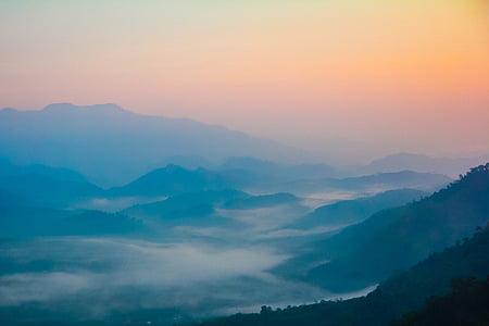 landscape photo of blue mountains