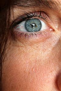 close up photo of women's eyes