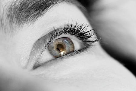human eye grayscale photo
