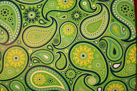green paisley print textile