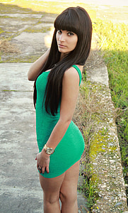 woman, green dress, sensual, short dress, erotic, body