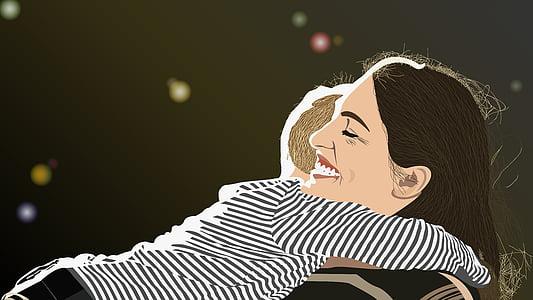 child hugging woman illustration