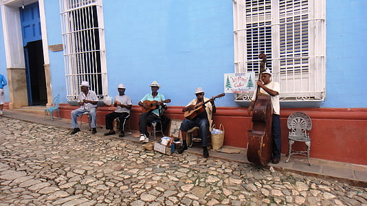 five men playing musical instrument