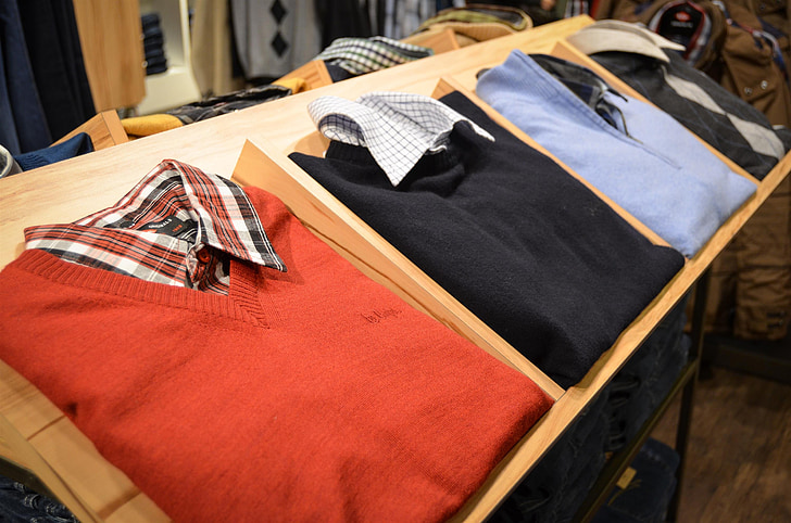 four blue, black, red, and gray polo shirts