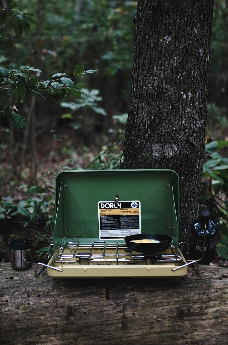 green and black camping stove