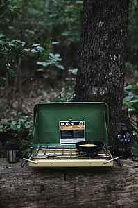 green and black camping stove