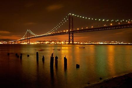 lighted lights of black bridge