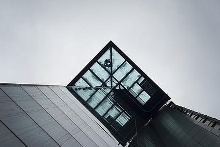 architecture, building, city, urban, elevator, design