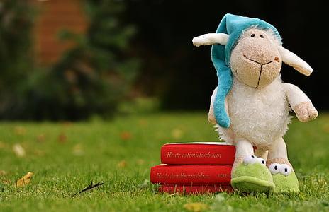 white animal plush toy on red box