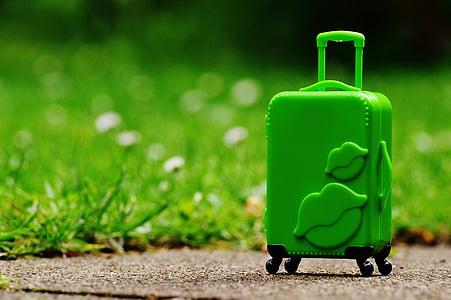 green hardcase luggage