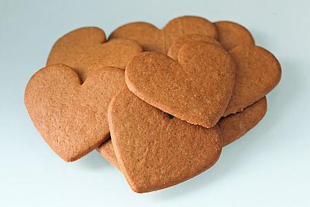 heart-shaped brown cookies