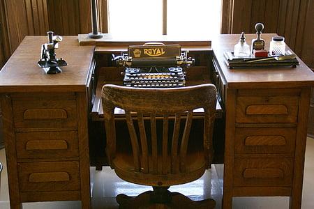 typewriter on brown wooden desk