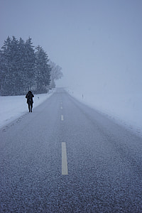 person walking beside gray road during snow