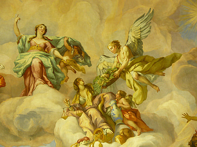 angels in cloud painting