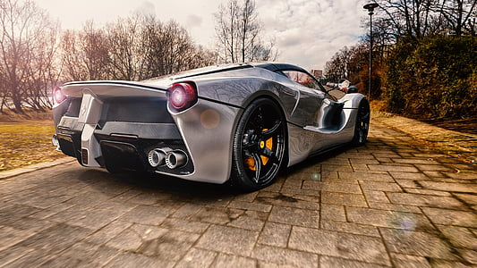 parked gray super car