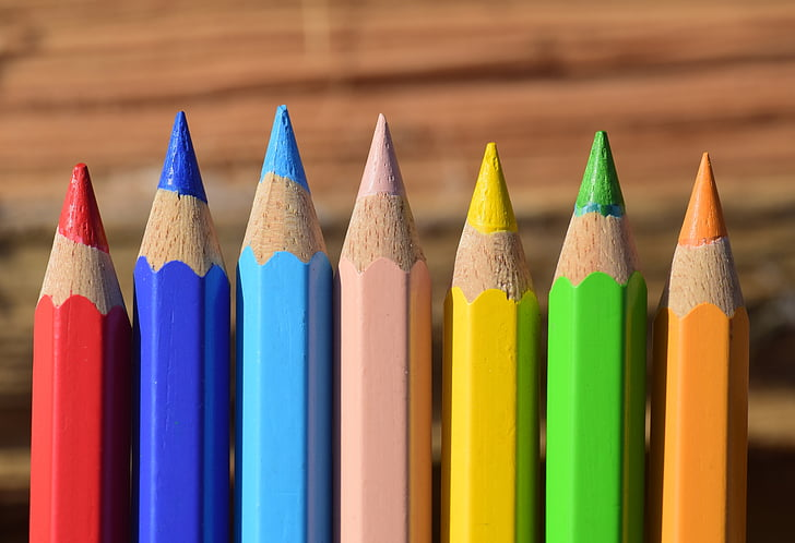 assorted-color pencils
