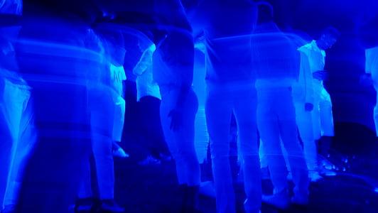 blue light, dance, light, night, night party, outdoor