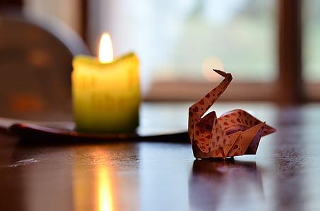 origami near candle