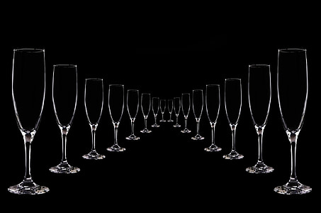 clear wine glass lot with black background