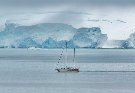 white boat on water near ice glacier landscape photography